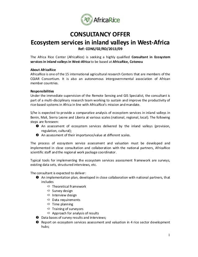 Announcement consultant ecosystem services in inland valleys in west-africa