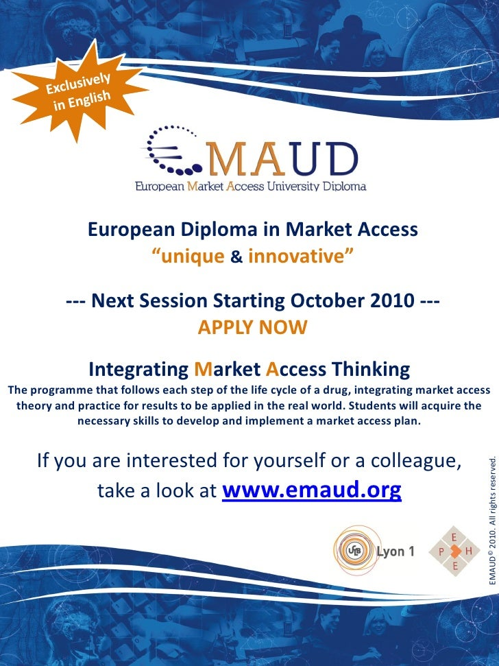 "European Diploma in Market Access                     ""unique & innovative""            --- Next Session Starting October 2..."