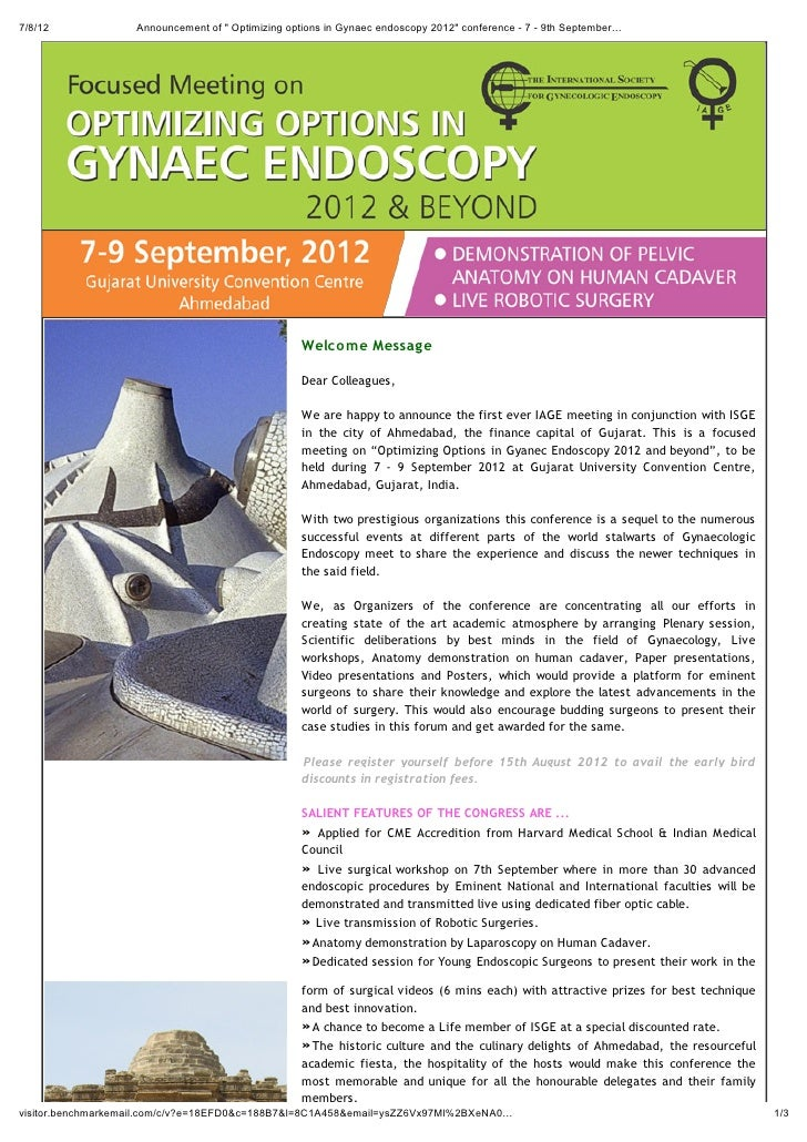 """7/8/12             Announcement of """" Optimizing options in Gynaec endoscopy 2012"""" conference - 7 - 9th September…         ..."""