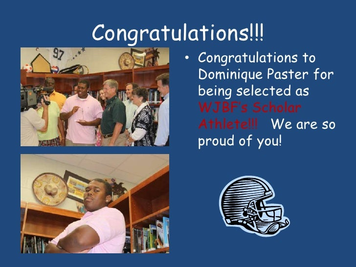 Congratulations!!!<br />Congratulations to Dominique Paster for being selected as WJBF's Scholar Athlete!!!   We are so pr...