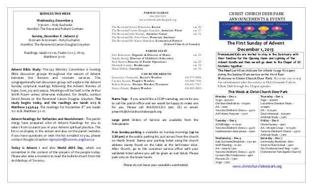 Announcements 1 Dec 2013