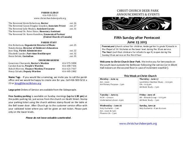 Announcements 23 June 2013