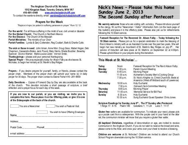 Announcements 2 June 2013