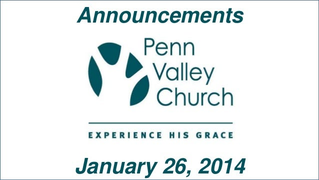 Announcements  January 26, 2014