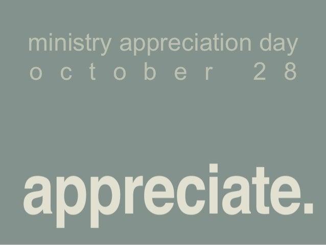 ministry appreciation dayo c t o b e r        2 8