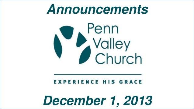Announcements  December 1, 2013
