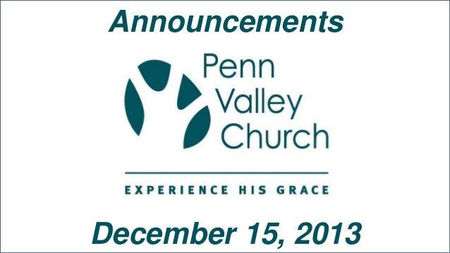 Announcements  December 15, 2013
