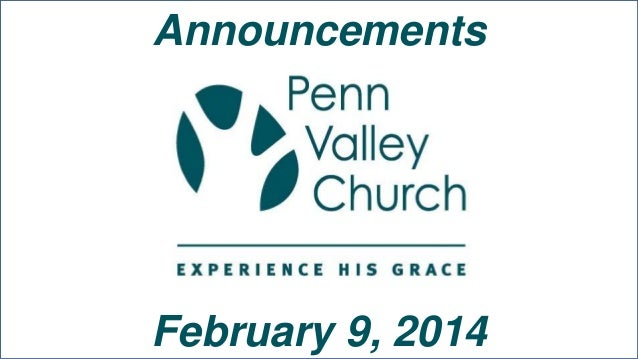 Announcements  February 9, 2014