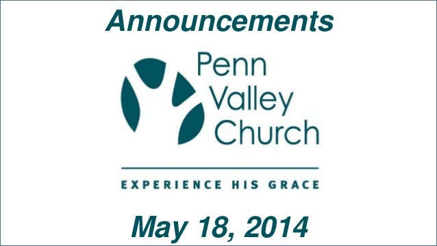 Announcements May 18, 2014