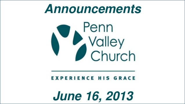 AnnouncementsJune 16, 2013