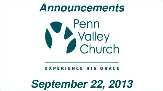 Announcements September 22, 2013