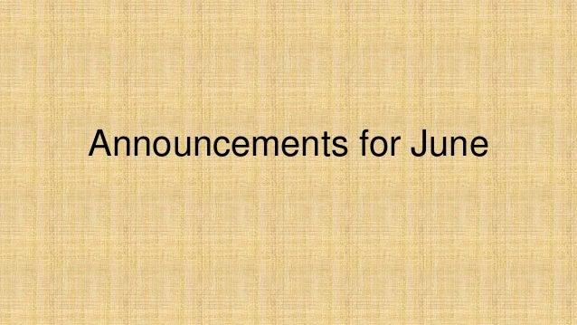 Announcements for june 2013