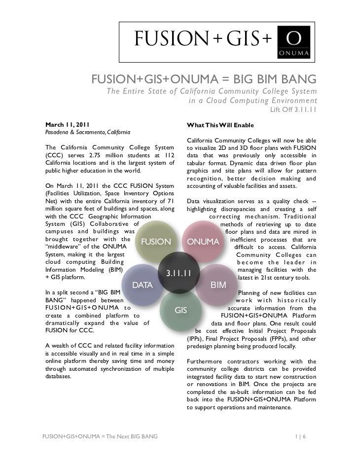 FUSION + GIS +                  FUSION+GIS+ONUMA = BIG BIM BANG                        The Entire State of California Comm...