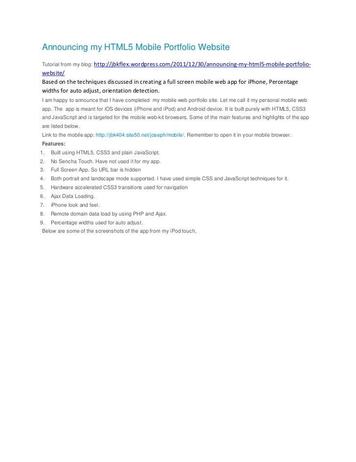 Announcing my HTML5 Mobile Portfolio Website