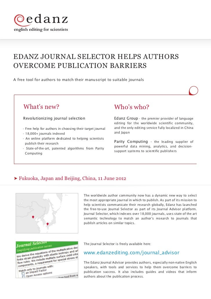 english editing for scientistsEDANZ JOURNAL SELECTOR HELPS AUTHORSOVERCOME PUBLICATION BARRIERSA free tool for authors to ...