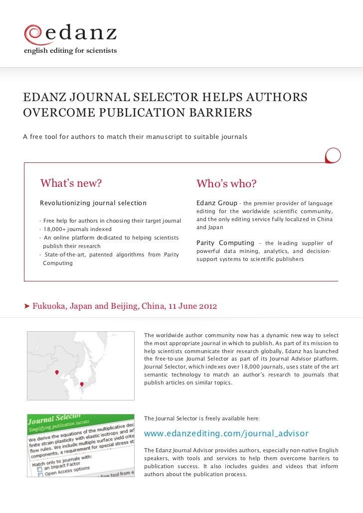 Announcing the Edanz Journal Selector