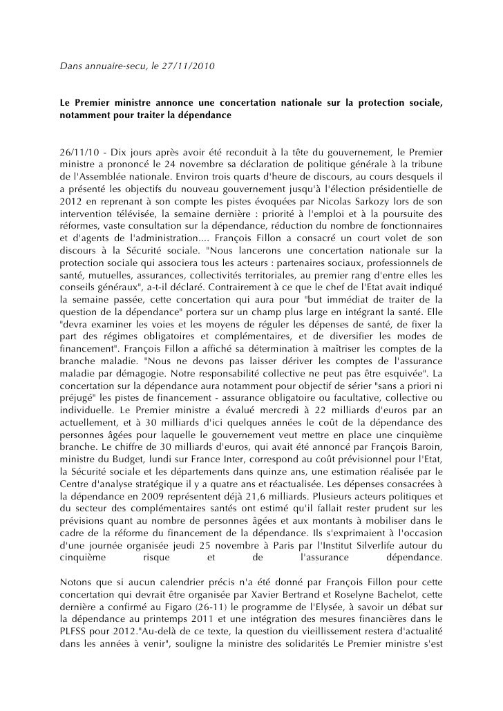 Dans annuaire-secu, le 27/11/2010Le Premier ministre annonce une concertation nationale sur la protection sociale,notammen...