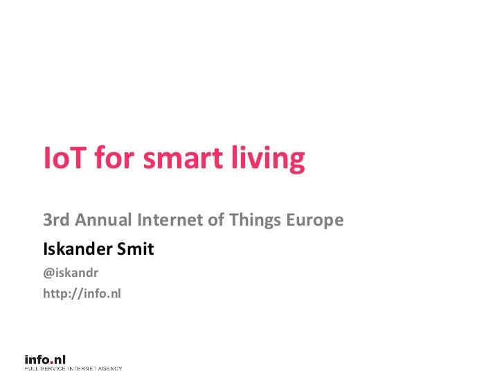 Annual Internet of Things Europe - Iskander Smit