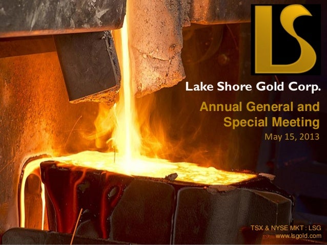 Lake Shore Gold Corp. TSX & NYSE MKT : LSG www.lsgold.com Annual General and Special Meeting May 15, 2013