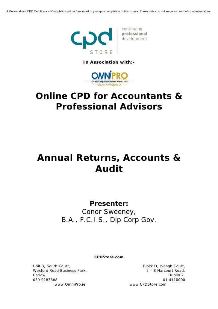 Annual Returns Accounts and Audit