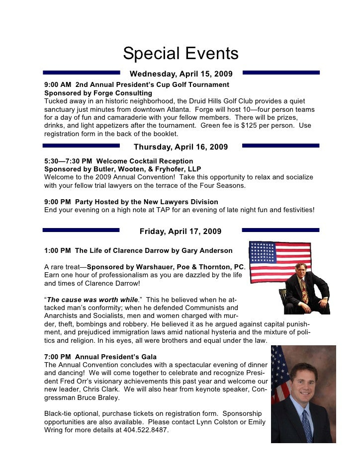 Special Events                            Wednesday, April 15, 2009 9:00 AM 2nd Annual President's Cup Golf Tournament Spo...