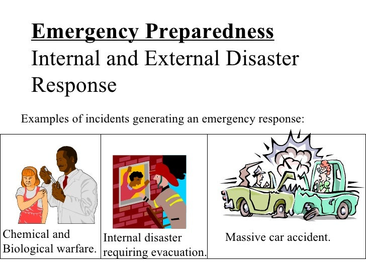 Emergency Preparedness Internal and External Disaster Response  Massive car accident.  Chemical and Biological warfare. In...