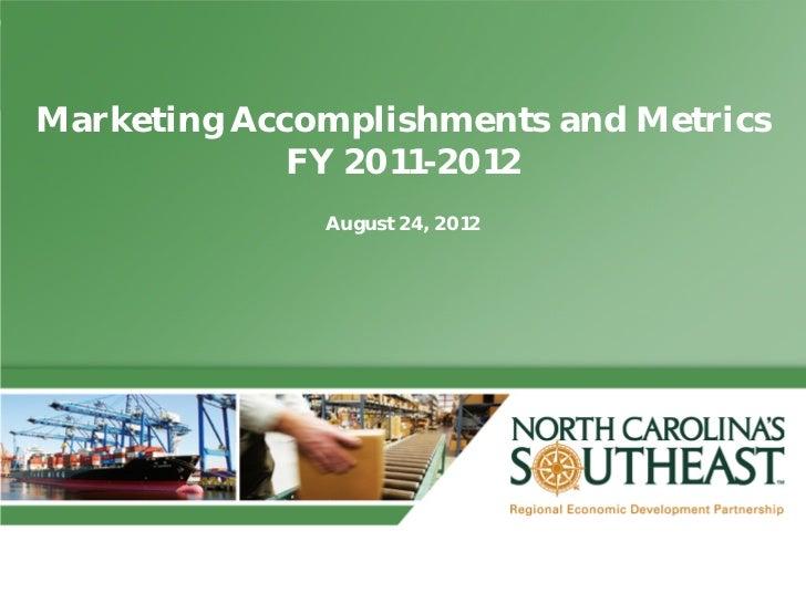Marketing Accomplishments and Metrics FY 2011-12