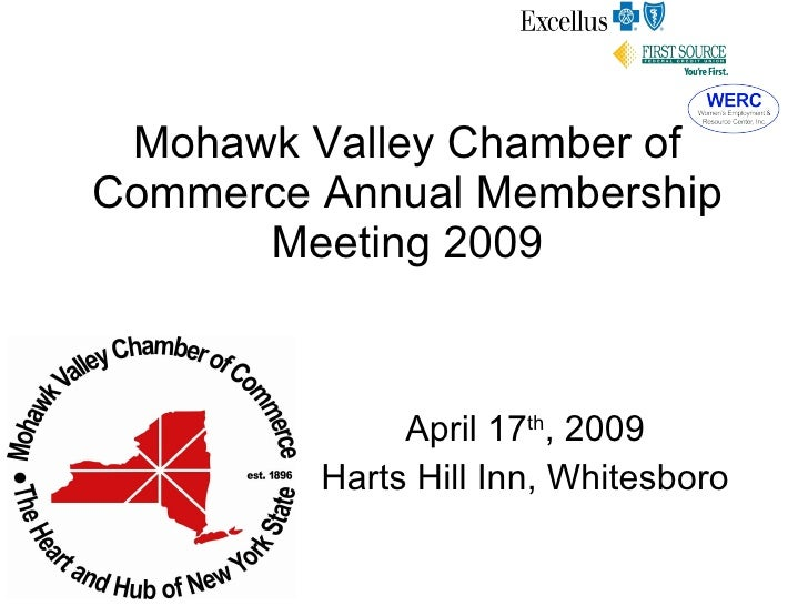 Mohawk Valley Chamber of Commerce Annual Membership Meeting 2009 April 17 th , 2009 Harts Hill Inn, Whitesboro