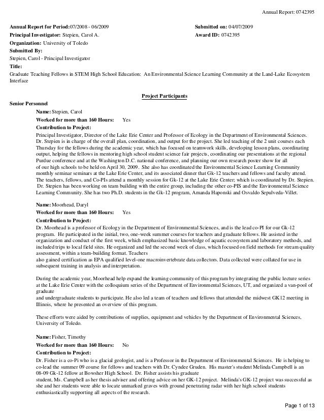 Annual Report: 0742395 Page 1 of 13 Annual Report for Period:07/2008 - 06/2009 Submitted on: 04/07/2009 Principal Investig...