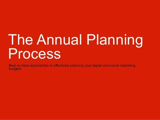 The Annual Planning Process & Social/Digital Media