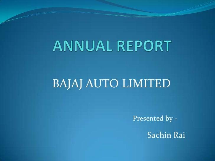 Annual Report Bajaj Auto Limited