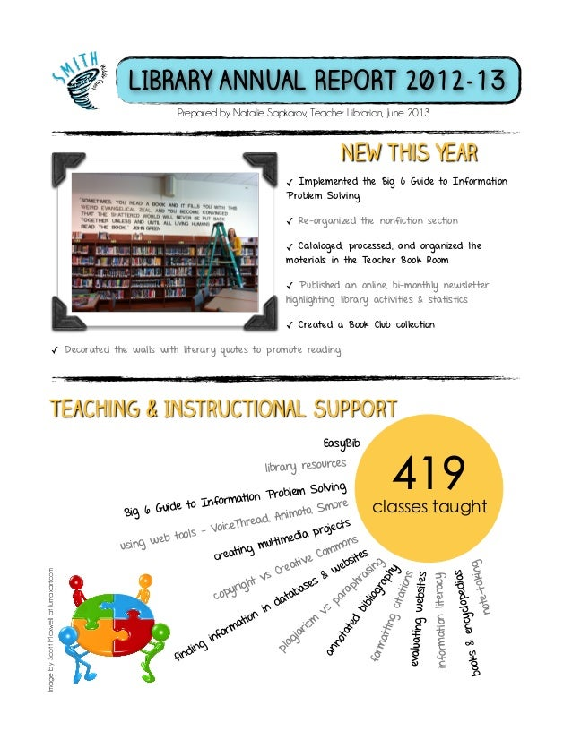 Smith Middle School Library Annual Report 2012-13