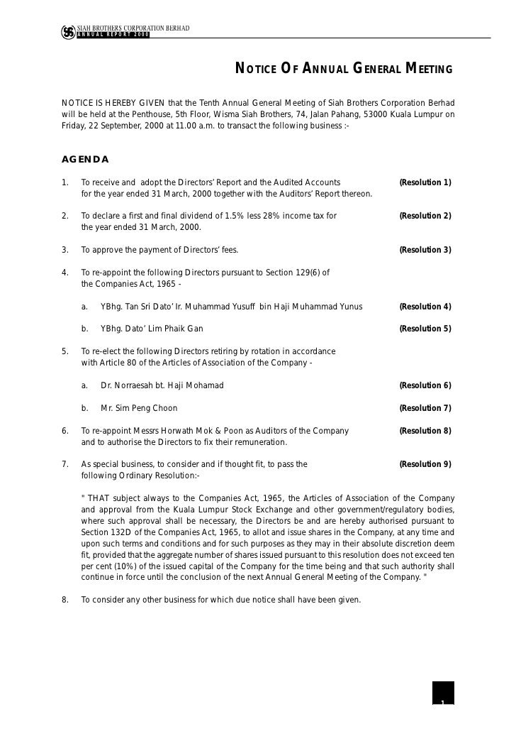 SIAH BROTHERS CORPORATION BERHAD      ANNUAL REPORT 2000                                                      NOTICE OF AN...