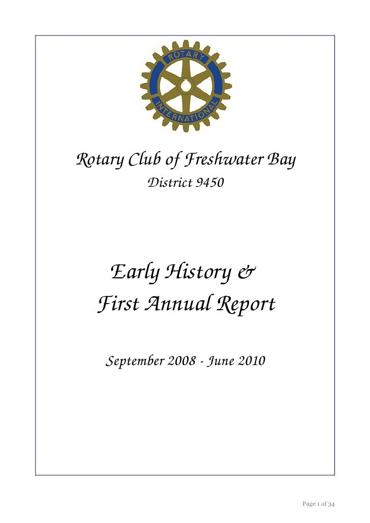 Rotary Club of Freshwater Bay           District 9450        Early History &    First Annual Report      September 2008 ­ ...