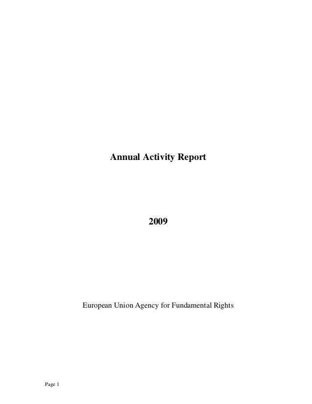 Page 1 Annual Activity Report 2009 European Union Agency for Fundamental Rights