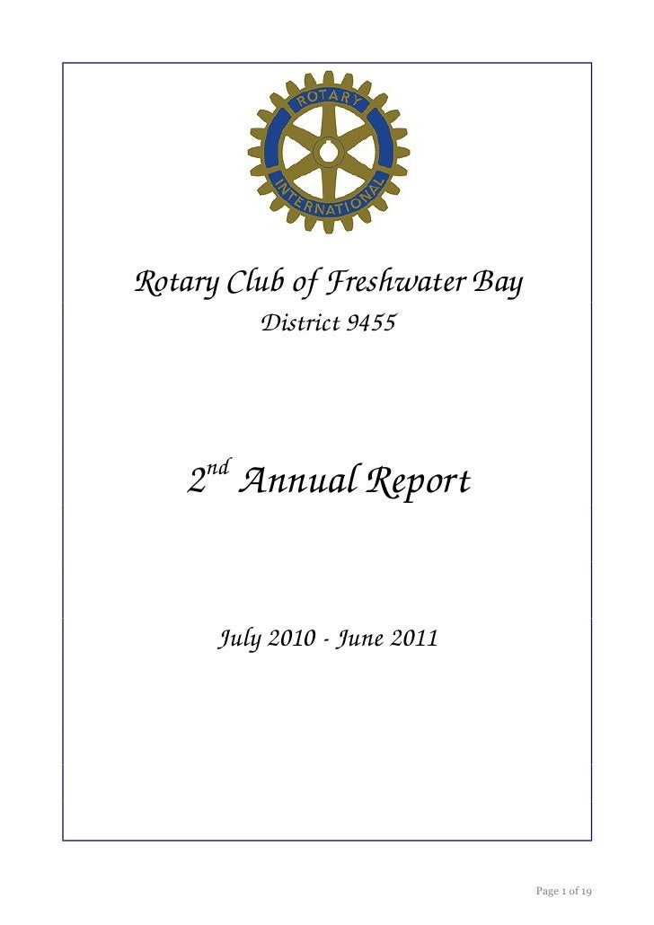 Rotary Club of Freshwater Bay          District 9455     nd   2  Annual Report      July 2010 ­ June 2011                 ...