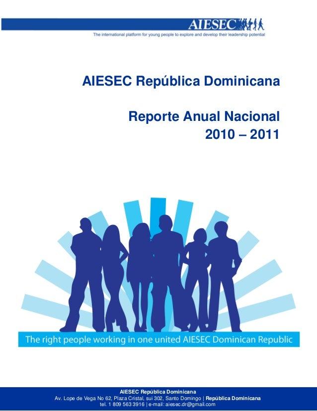 Annual Report AIESEC Dominican Republic 2010 - 2011