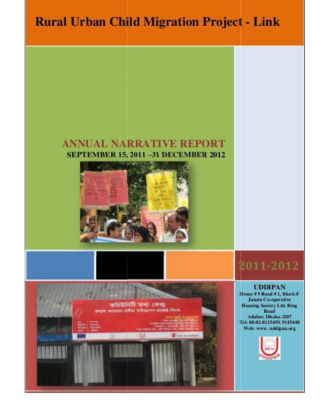 Rural Urban Child Migration Project - Link    ANNUAL NARRATIVE REPORT     SEPTEMBER 15, 2011 –31 DECEMBER 2012            ...