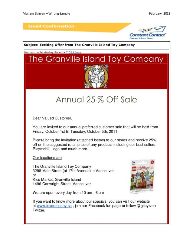 Writing Sample_Annual Sales Email