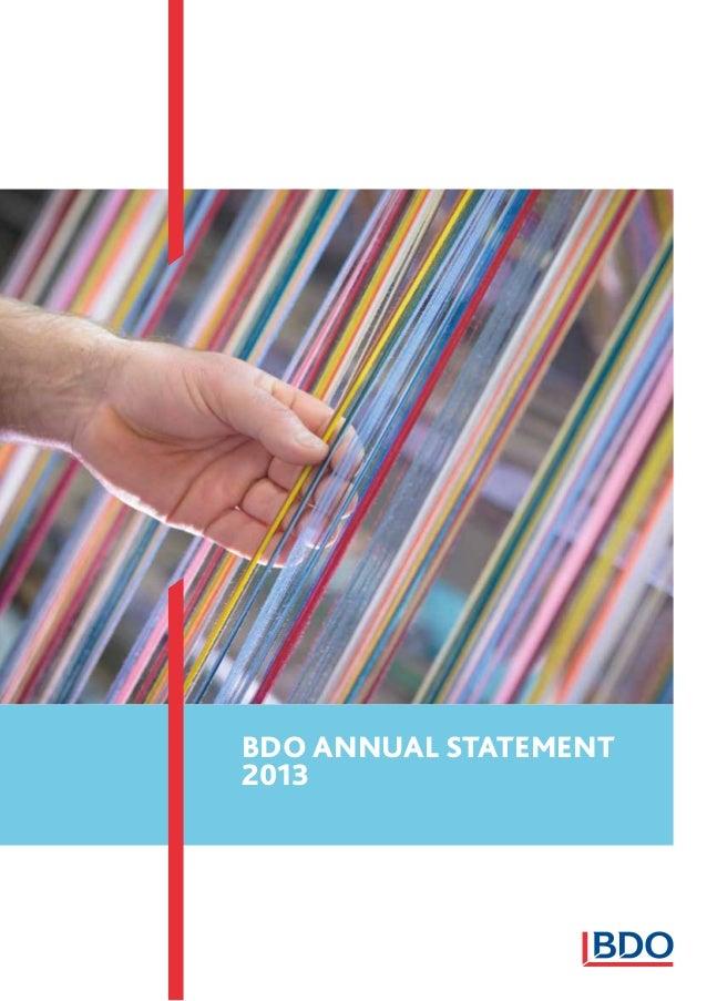 BDO ANNUAL STATEMENT 2013