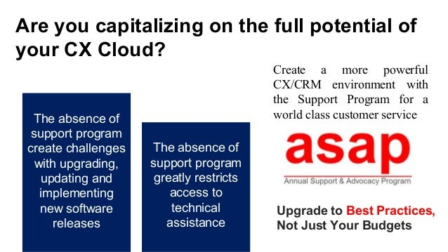 Are you capitalizing on the full potential of your CX Cloud? Upgrade to Best Practices, Not Just Your Budgets The absence ...