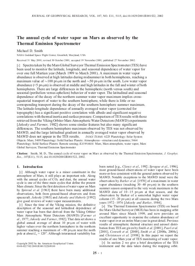 JOURNAL OF GEOPHYSICAL RESEARCH, VOL. 107, NO. E11, 5115, doi:10.1029/2001JE001522, 2002The annual cycle of water vapor on...