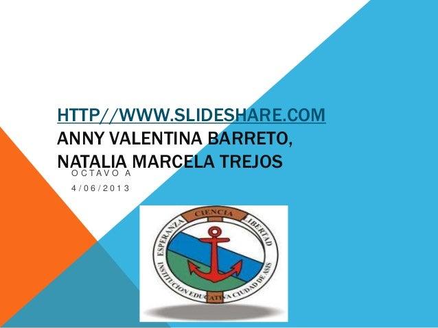 HTTP//WWW.SLIDESHARE.COMANNY VALENTINA BARRETO,NATALIA MARCELA TREJOSO C T A V O A4 / 0 6 / 2 0 1 3