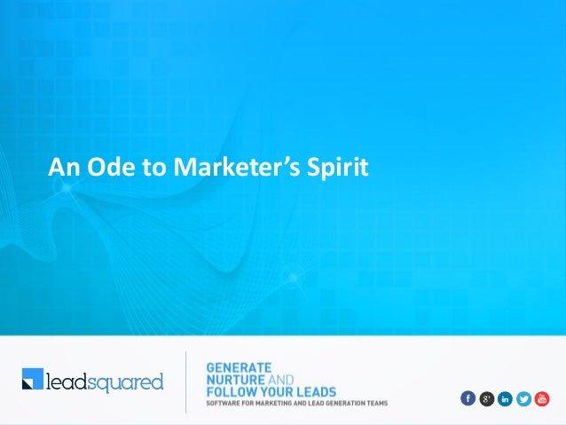 An Ode to Marketer's Spirit