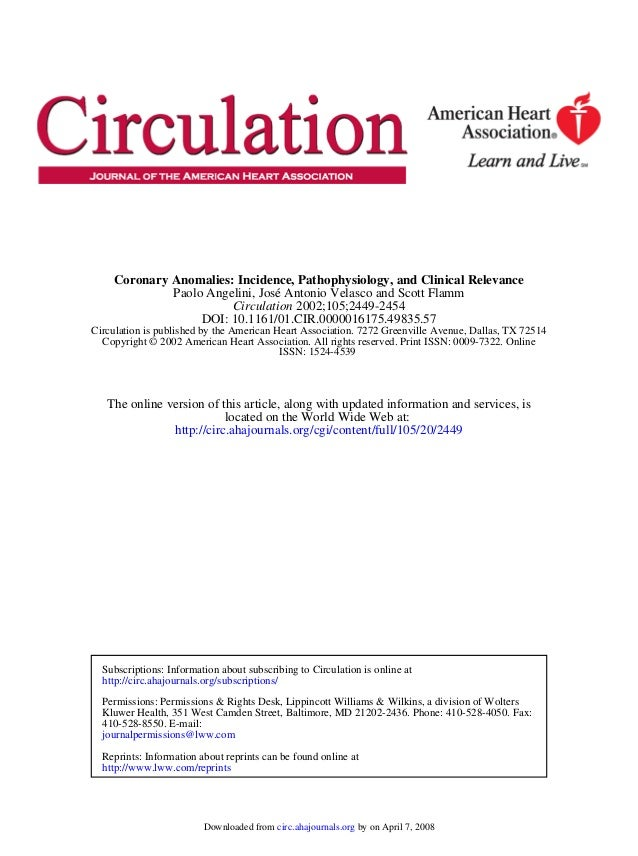 ISSN: 1524-4539 Copyright © 2002 American Heart Association. All rights reserved. Print ISSN: 0009-7322. Online Circulatio...