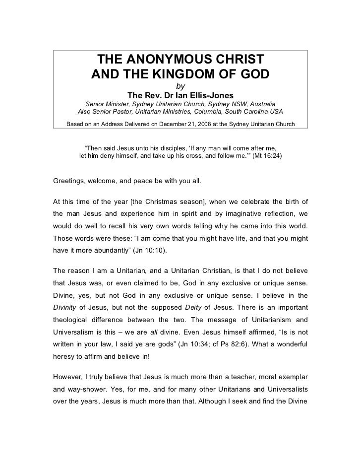THE ANONYMOUS CHRIST            AND THE KINGDOM OF GOD                                     by                         The ...