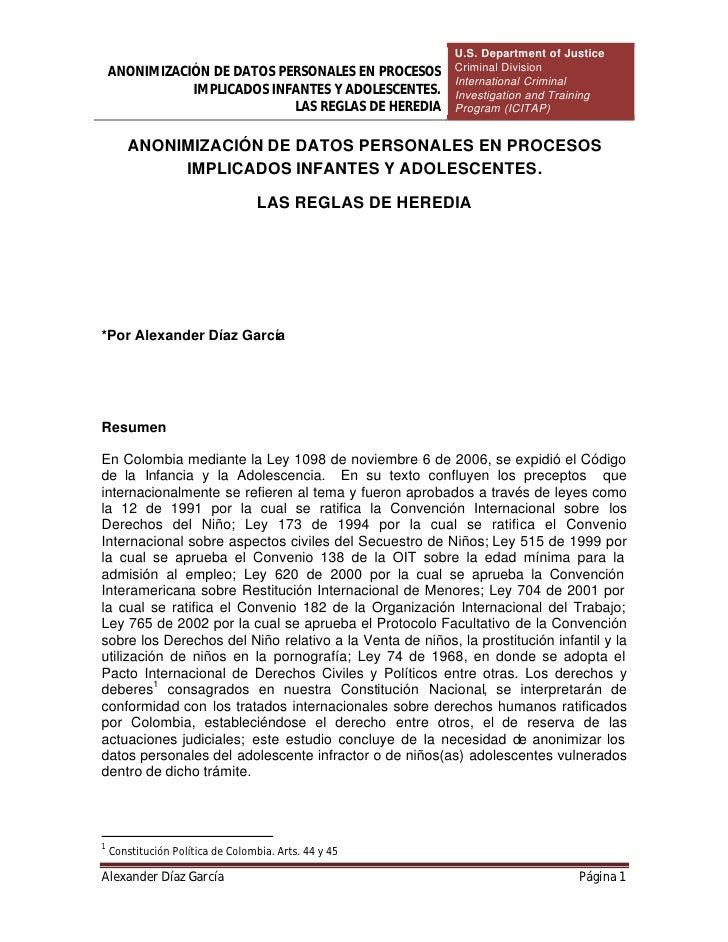 U.S. Department of Justice     ANONIMIZACIÓN DE DATOS PERSONALES EN PROCESOS         Criminal Division                    ...