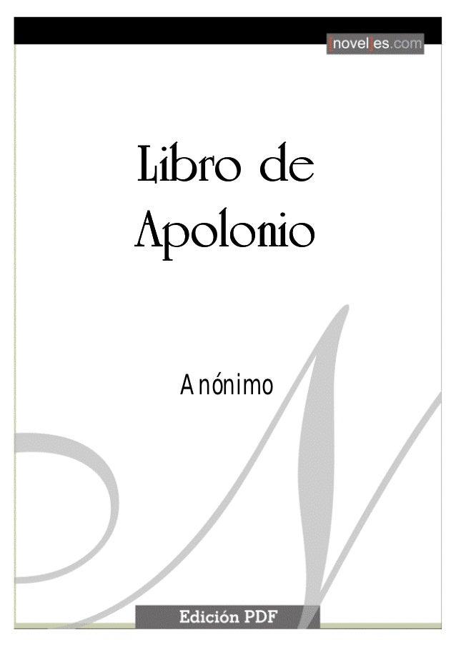 Libro de Apolonio                          1        Libro de        Apolonio                Anónimo