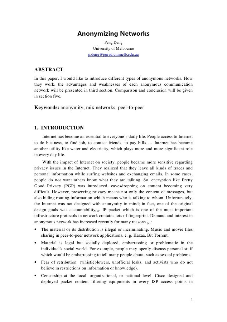 Anonymizing Networks