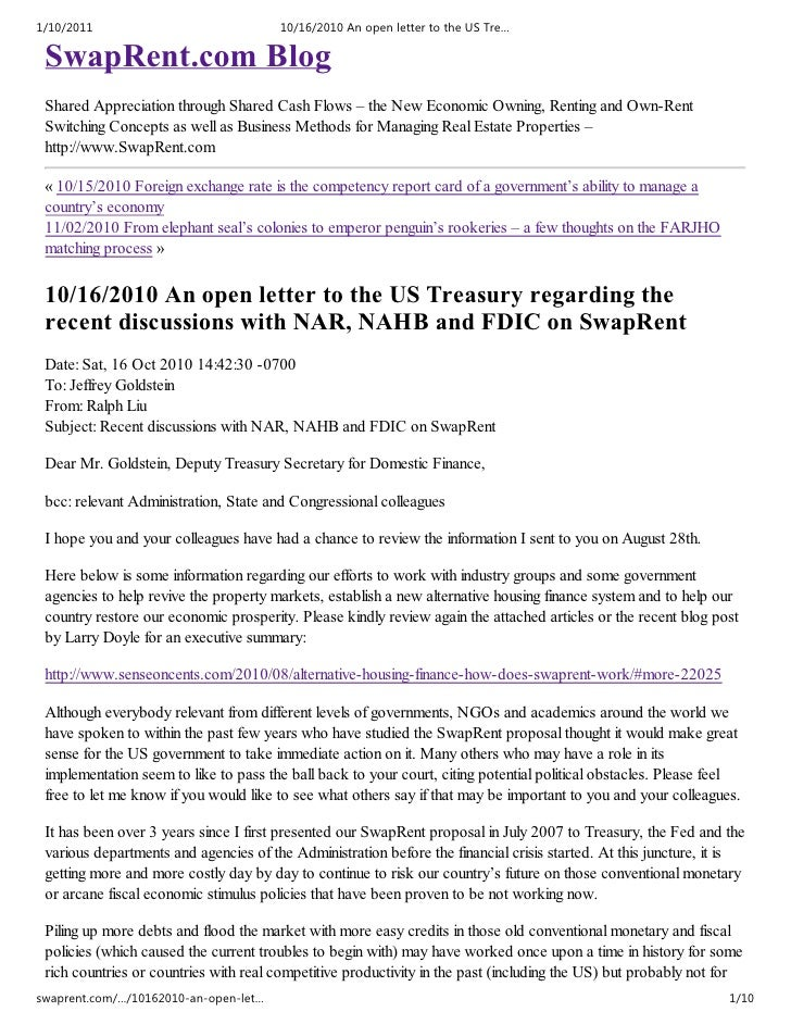 An open letter to the us treasury regarding the recent discussions with nar, nahb and fdic on swap rent   swaprent blog